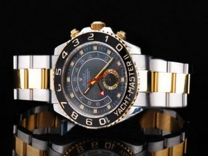rolex yacht master black bezel and grey shell dial watch